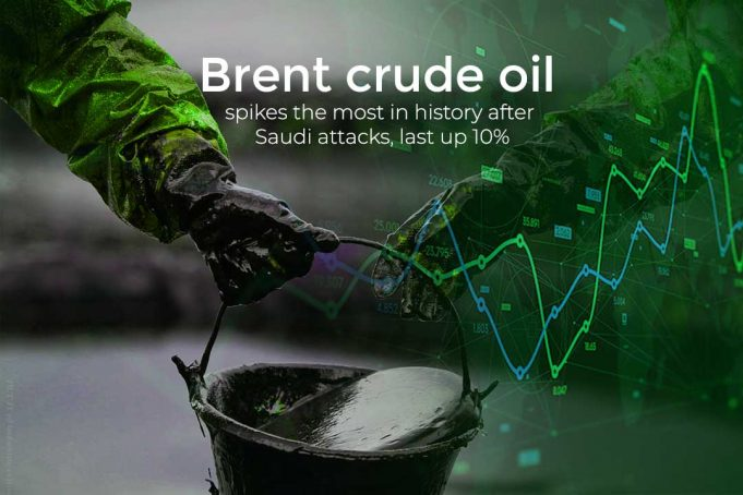 Price of Brent Crude Oil Increases at Historic 10% after Saudi Attacks
